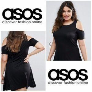 ASOS Curve Cold Shoulder Plus Size Black Dress